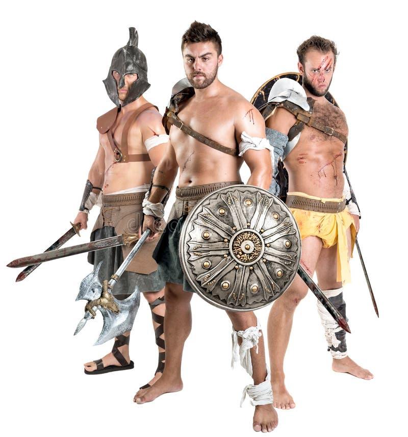 Gladiatorer/barbar- krigare royaltyfri foto