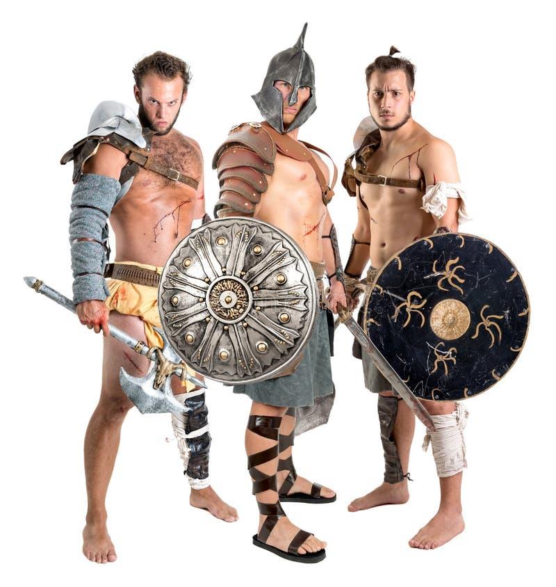 Gladiatorer/barbar- krigare arkivfoton