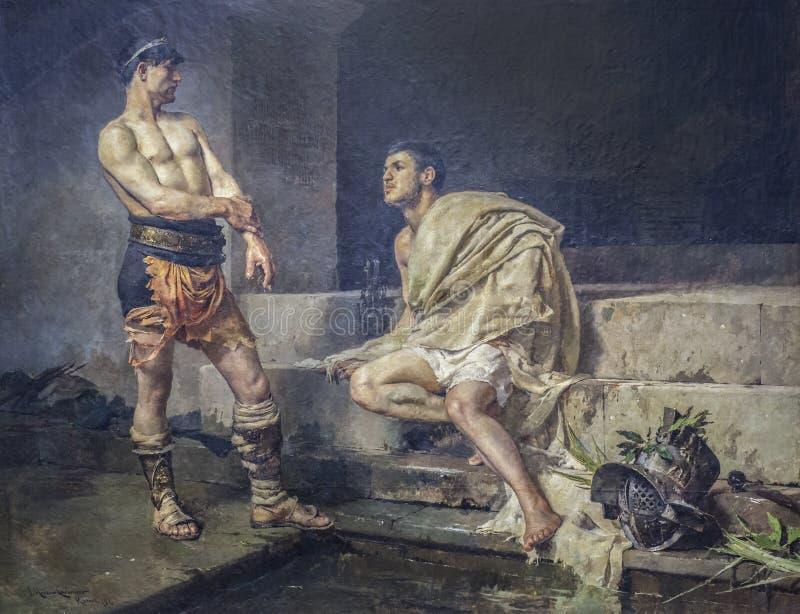 Gladiatorer efter kampen fotografering för bildbyråer