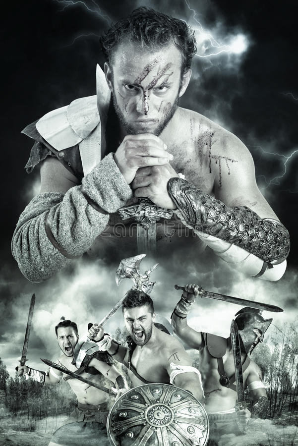 Gladiatorer/krigare royaltyfri foto