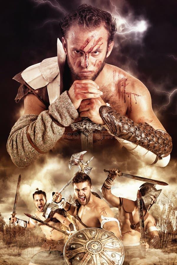 Gladiatorer/krigare royaltyfri bild