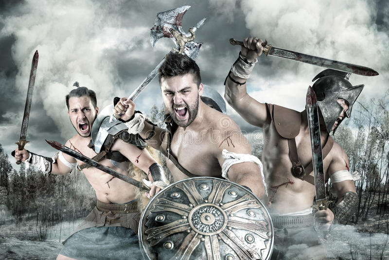 Gladiatori/guerrieri fotografie stock