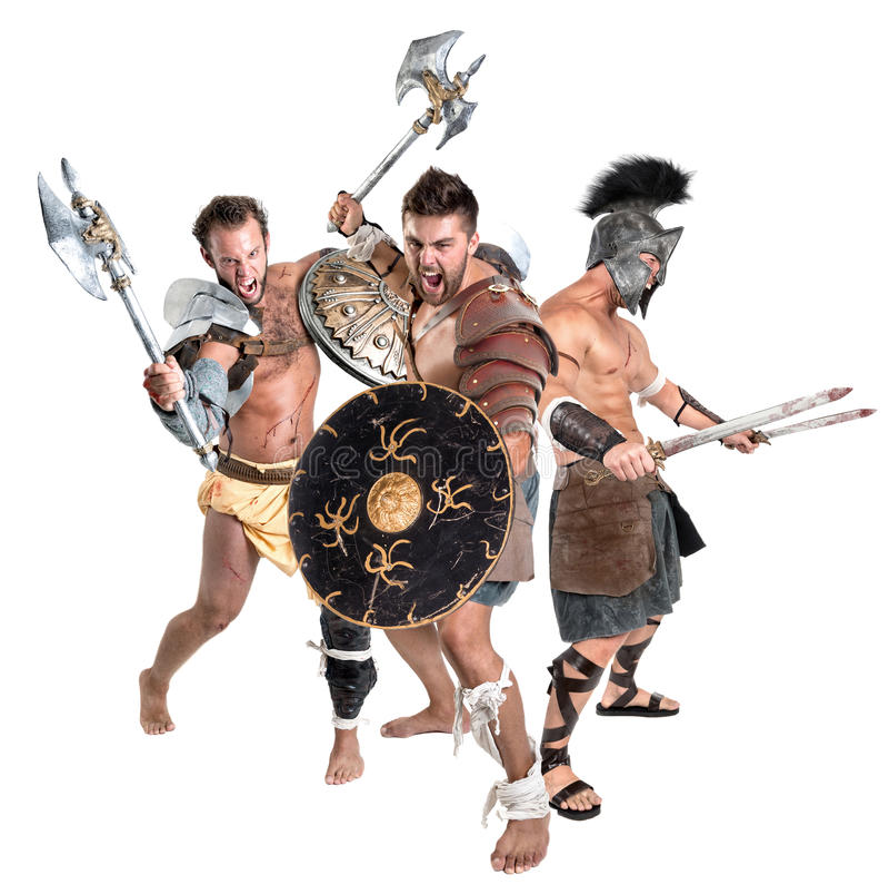 Gladiatori/guerrieri barbari fotografia stock
