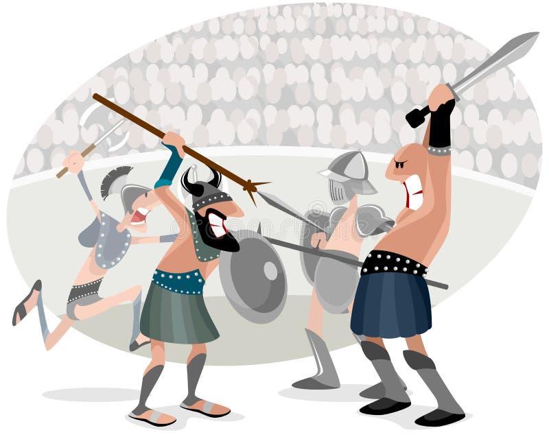 Gladiators που παλεύουν στο χώρο διανυσματική απεικόνιση