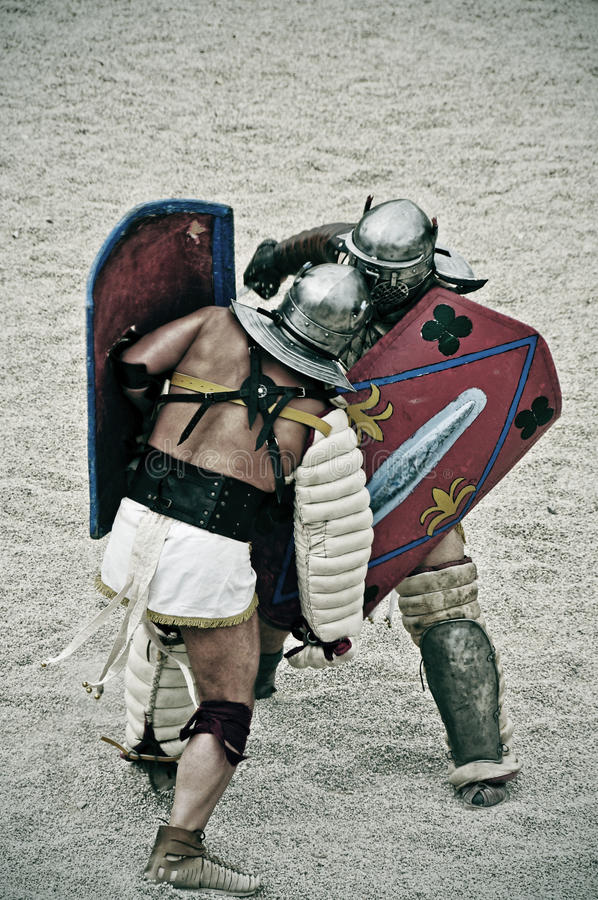 Gladiators on the arena of Roman Amphitheater of Tarragona, Spain royalty free stock photos
