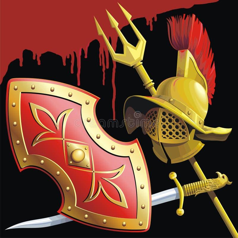 Gladiators armament vector illustration