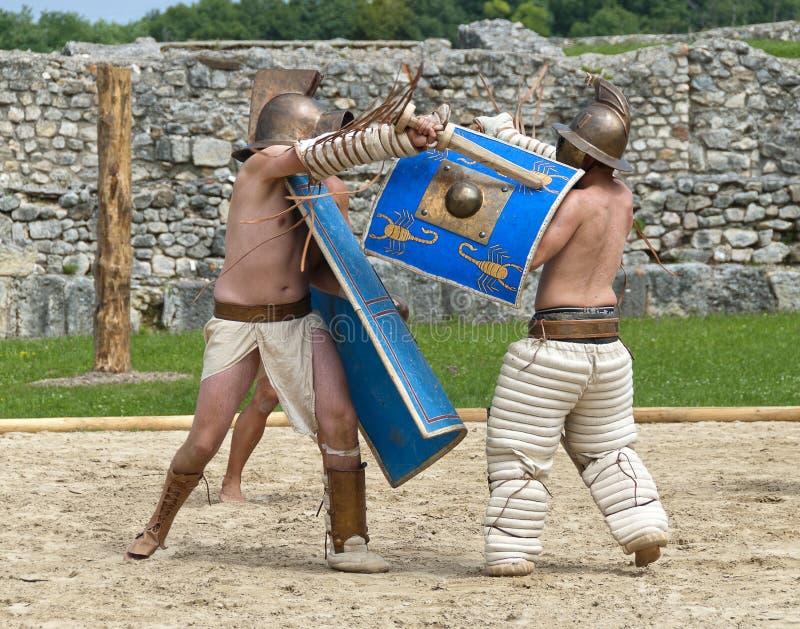 Gladiators fight at Carnuntum #5 stock images