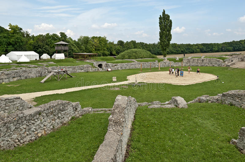 Gladiators fight at Carnuntum #6 royalty free stock photo