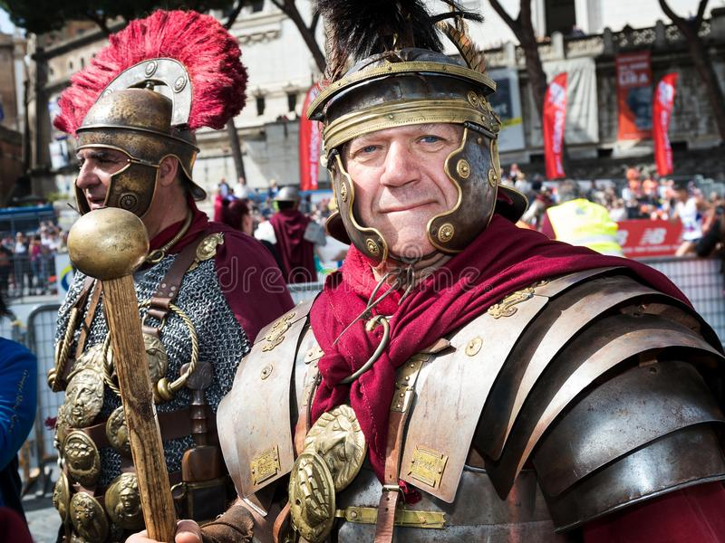 Gladiators in historical dress and armor stock image
