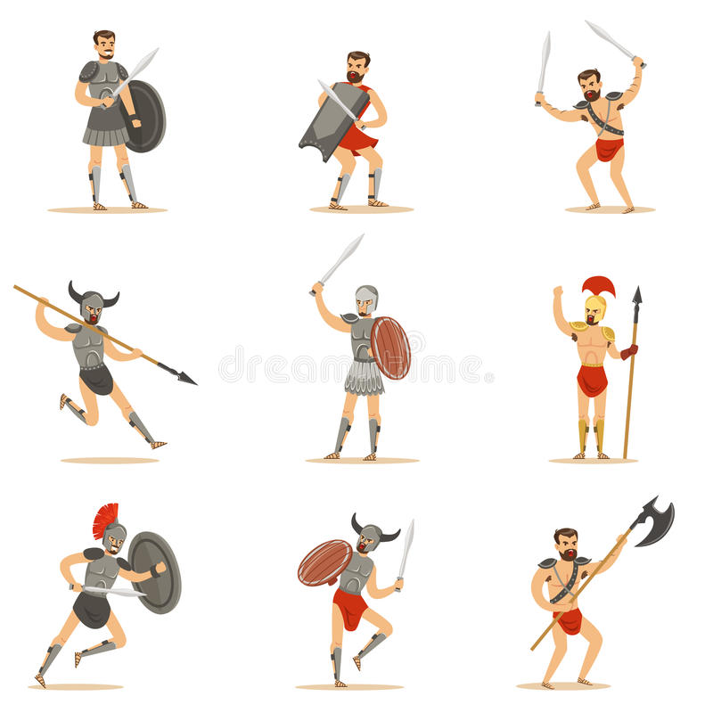 Gladiators Of Roman Empire Era In Historical Armor With Swords And Other Weapons Fighting On Arena Set Of Cartoon vector illustration