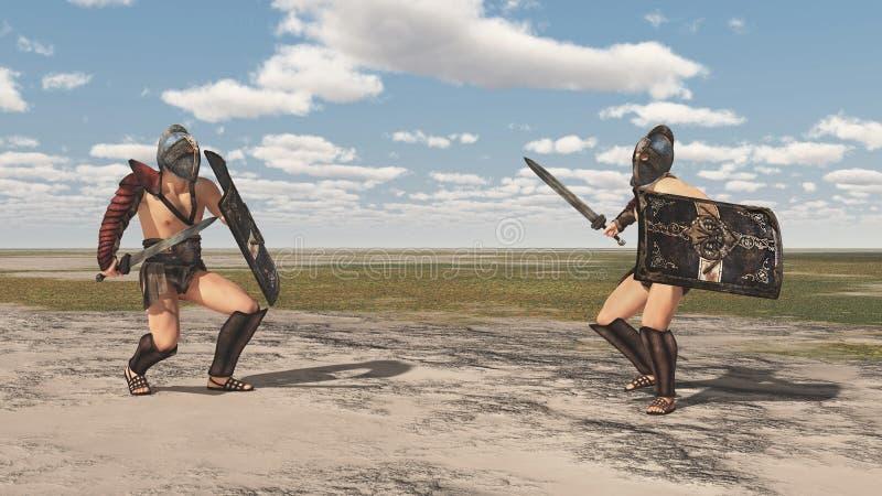 Gladiators Thracian παλεύουν σε ένα τοπίο απεικόνιση αποθεμάτων