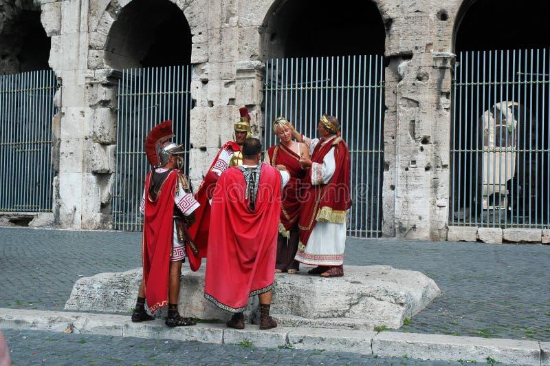 Gladiators, Woman and Dominus - Rome Coliseum stock photo