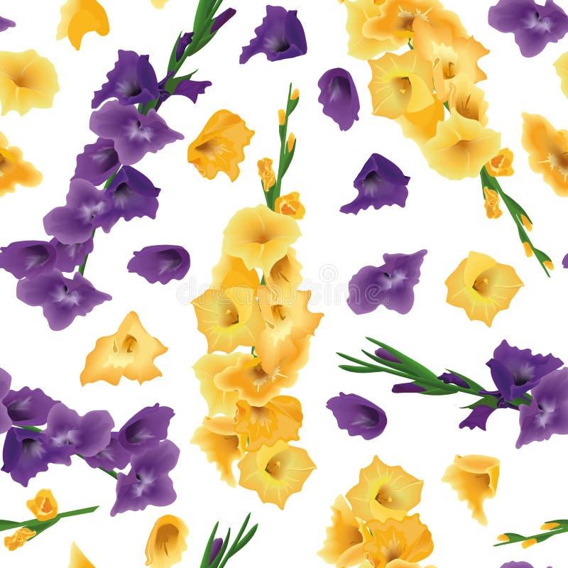 Gladioluses wektoru bezszwowy wzór odizolowywający, kordzik leluja kwitnie Gałąź i kwiaty Kolor żółty, purpura, fiołek kwiecisty ilustracja wektor