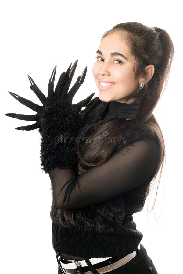 gladlynt barn för handskeståendekvinna arkivfoton