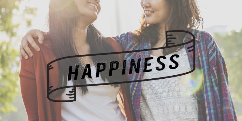 Gladlynt begrepp för lycklig njutning för livlycka optimistisk royaltyfri fotografi