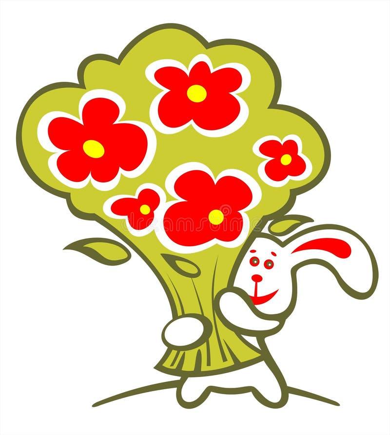 gladlynt blommakanin vektor illustrationer