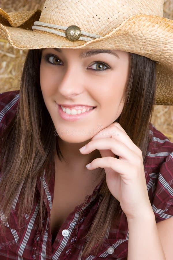 gladlynt cowgirl royaltyfria bilder