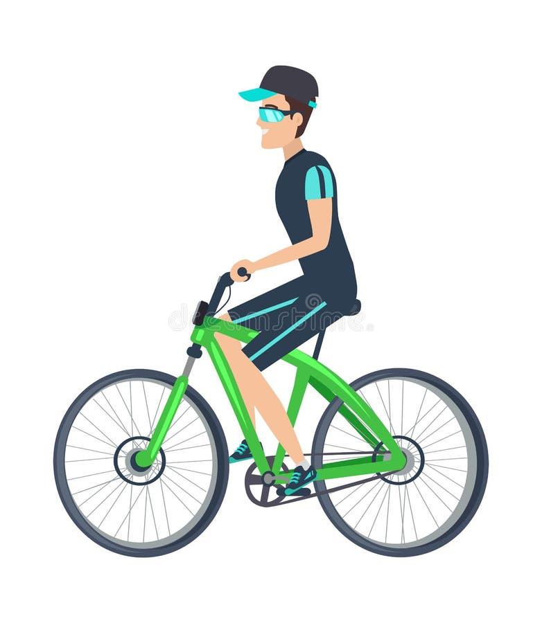 Gladlynt cyklist på det gröna medlet som isoleras på vit vektor illustrationer