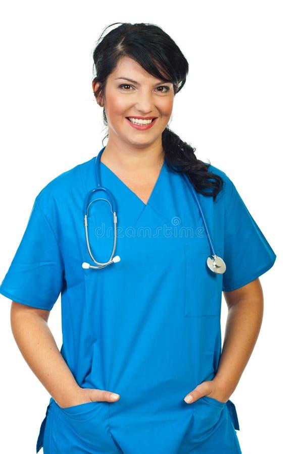 gladlynt doktorskvinna royaltyfri foto
