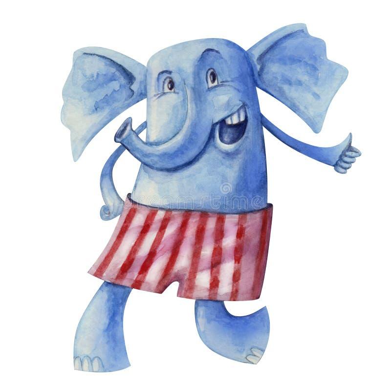 Gladlynt elefant i randiga flåsanden vektor illustrationer