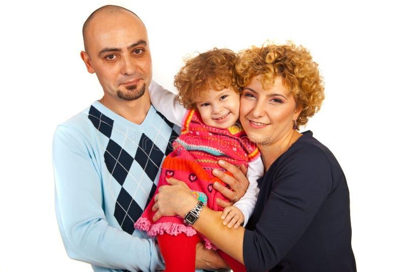 Gladlynt enig familj royaltyfri bild