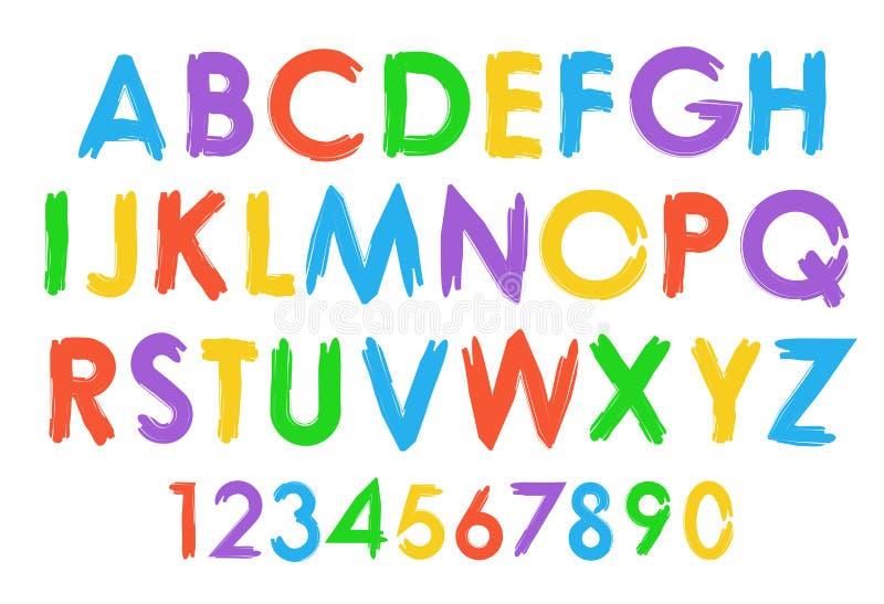 Gladlynt färgrik uppsättning för vektoralfabettypografi vektor illustrationer