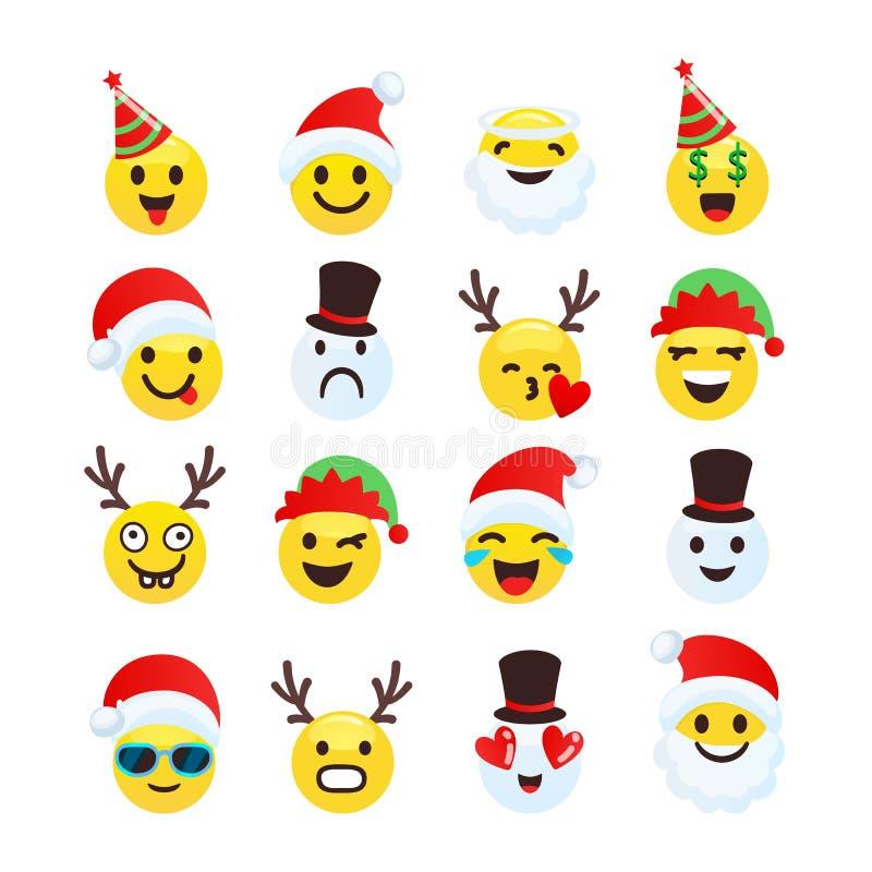 Gladlynt för jul smiley och rolig samling stock illustrationer