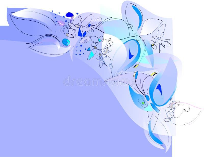 gladlynt fjäder för kantfjärilsblommor royaltyfri illustrationer