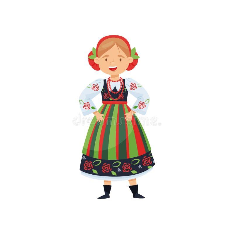 Gladlynt flicka i traditionell polsk folk klänning Nationell dräkt Kvinnligt tecken för tecknad film Plan vektordesign stock illustrationer