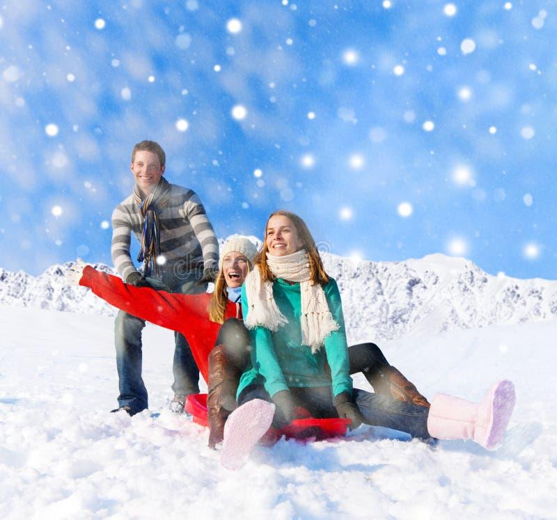 Gladlynt folk i den snöig ferien royaltyfria foton
