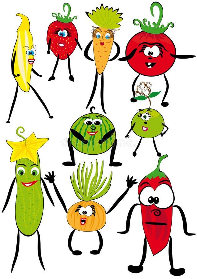 gladlynt fruktseriegrönsaker arkivfoto