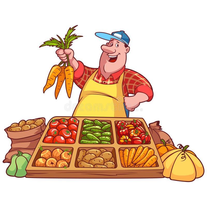 Gladlynt grönsaksäljare på räknaren med en morot royaltyfri illustrationer