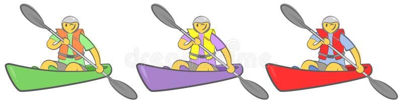 Gladlynt grabb som sitter i kajak och rymmer skoveln Man som paddlar en kajak Begrepp för affärsföretaget, lopp, handling Aktiv s stock illustrationer