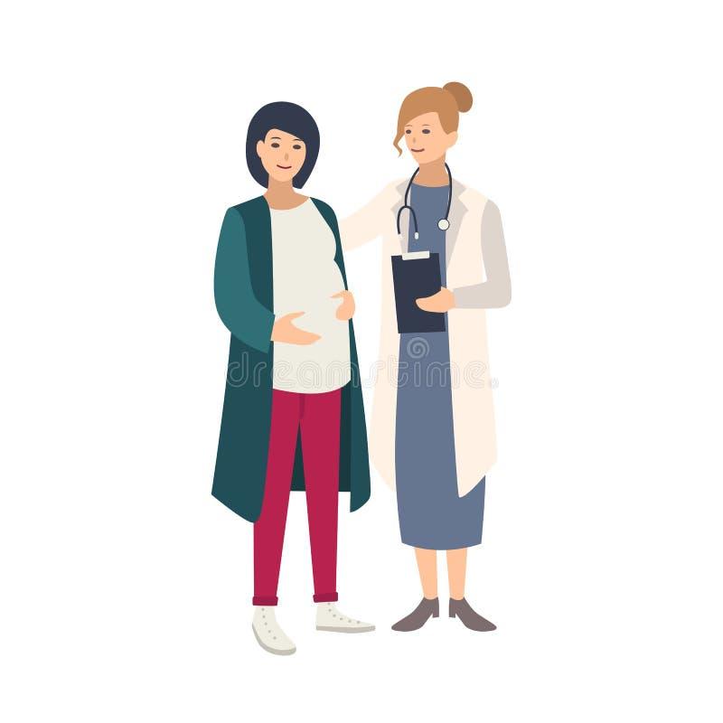Gladlynt gravid kvinnaanseende samman med kvinnlig doktor, läkare eller barnmorska och samtal till henne sunt havandeskap royaltyfri illustrationer