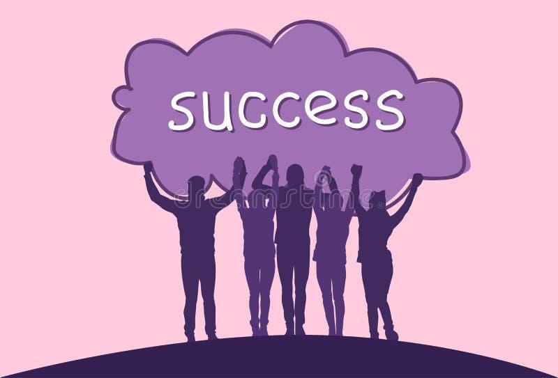 Gladlynt grupp för framgångbegrepp av affärsfolk som rymmer lyftta händer lyckliga lyckade Team Silhouettes stock illustrationer