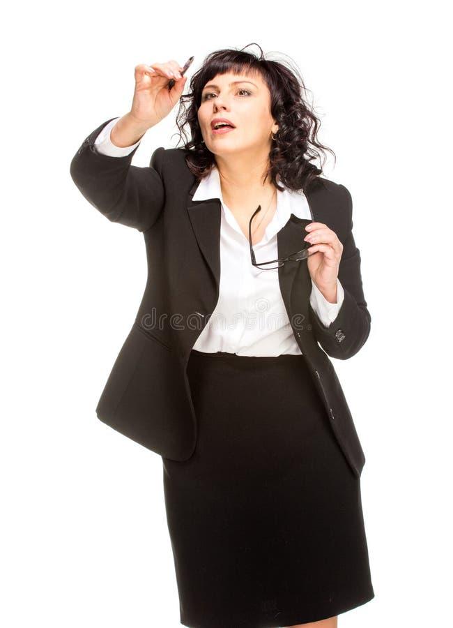gladlynt hög kvinna för affär royaltyfri bild