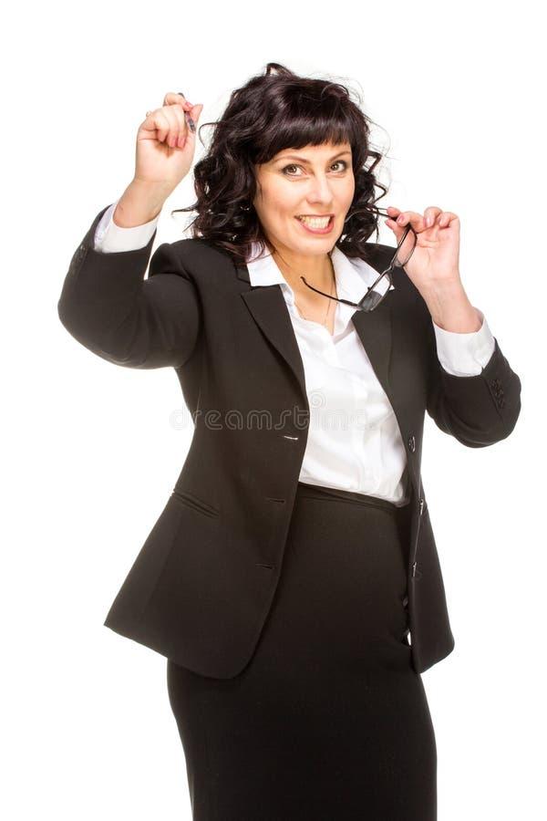 gladlynt hög kvinna för affär royaltyfri fotografi