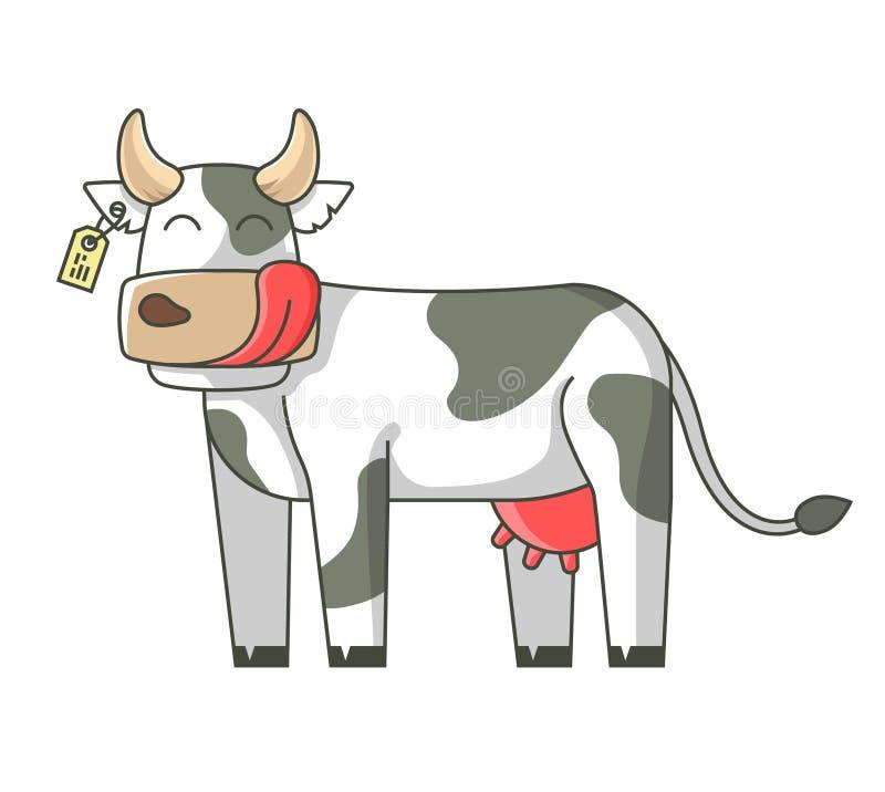 Gladlynt ko på en vit bakgrund Slicka framsidan P? en vit bakgrund royaltyfri illustrationer