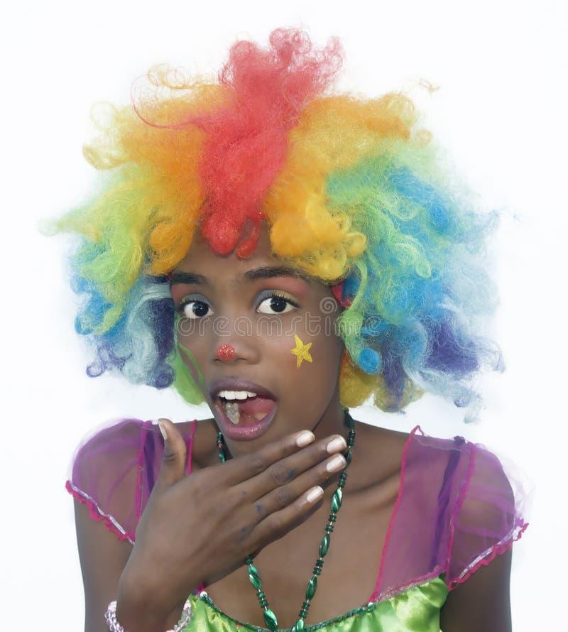 Gladlynt kvinnlig clown royaltyfria bilder