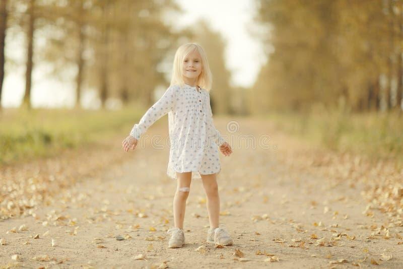 Gladlynt liten flicka på höstvägen royaltyfri foto