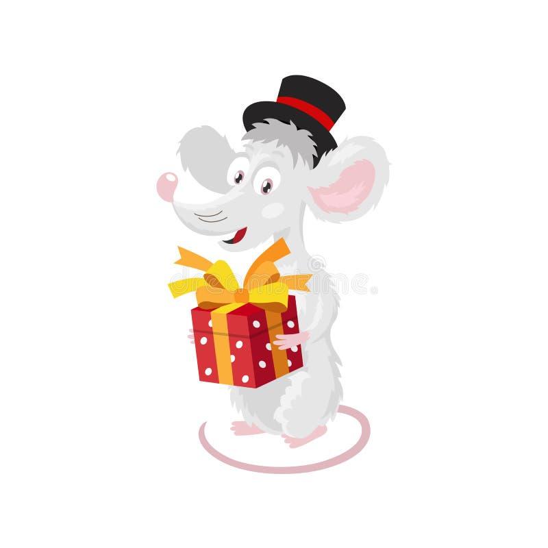 Gladlynt liten mus i en svart bästa hatt med en röd gåvaask vektor illustrationer