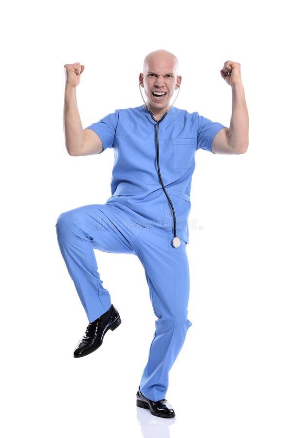 Gladlynt lycklig medicinsk isolerad sjuksköterskaman royaltyfria bilder