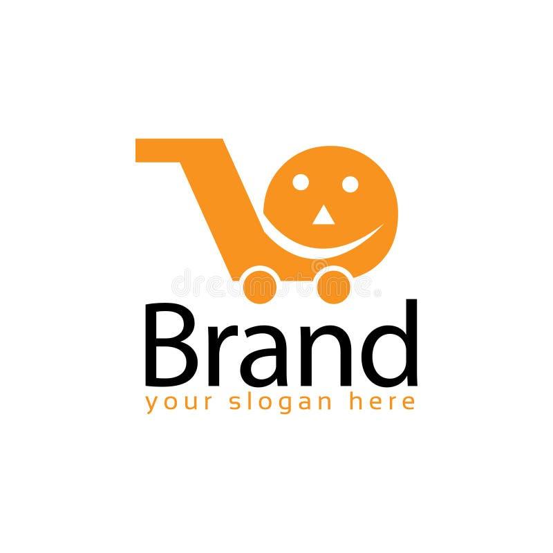 Gladlynt mall för marknadsmateriellogo plan logo redigerbart vektor stock illustrationer