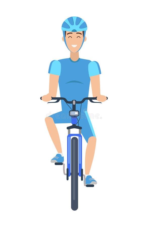Gladlynt man som rider en mångfärgad affisch för cykel royaltyfri illustrationer