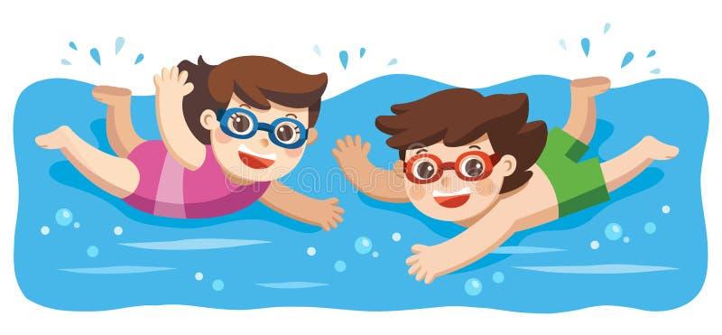 Gladlynt och aktiv pys och flickasimning i simningen royaltyfri illustrationer