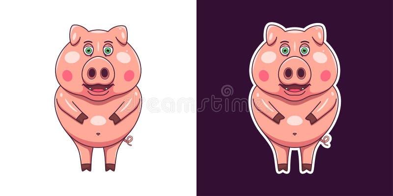 Gladlynt och le svinet i plan stil vektor stock illustrationer