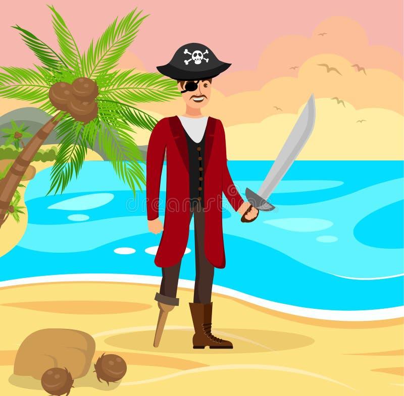 Gladlynt piratkopiera Capitan den plana färgillustrationen royaltyfri illustrationer