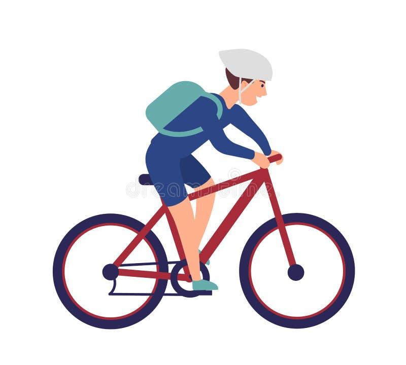 Gladlynt pojke i hjälmridningcykel Le idrottsmannen på cykeln som isoleras på vit bakgrund Lycklig manlig cyklist vektor illustrationer