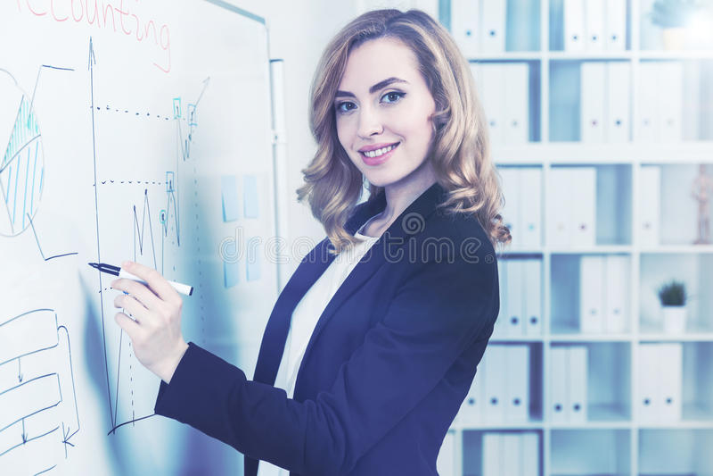 Gladlynt röd haired affärskvinna och whiteboard arkivfoton