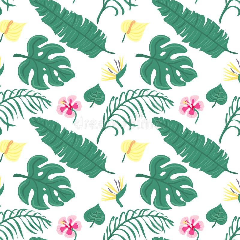 Gladlynt sömlös modelltapet för strand av tropiskt mörkt - gröna sidor av palmträd och blommafågeln av paradiset vektor illustrationer